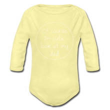 "Laden Sie das Bild in den Galerie-Viewer, Organic Baby Bodysuit ""Cute"" - Hellgelb"