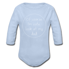 "Laden Sie das Bild in den Galerie-Viewer, Organic Baby Bodysuit ""Cute"" - Sky"