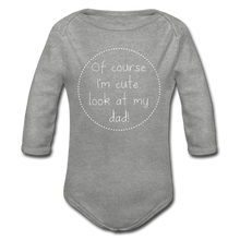 "Laden Sie das Bild in den Galerie-Viewer, Organic Baby Bodysuit ""Cute"" - Grau meliert"