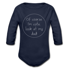 "Laden Sie das Bild in den Galerie-Viewer, Organic Baby Bodysuit ""Cute"" - Dunkelnavy"