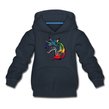 "Laden Sie das Bild in den Galerie-Viewer, Kinder Premium Hoodie ""Einhorn"" - Navy"