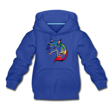 "Laden Sie das Bild in den Galerie-Viewer, Kinder Premium Hoodie ""Einhorn"" - Royalblau"