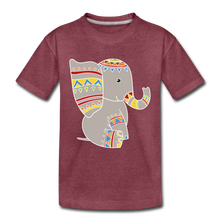 "Laden Sie das Bild in den Galerie-Viewer, Kinder Premium T-Shirt ""Elefant"" - Bordeauxrot meliert"