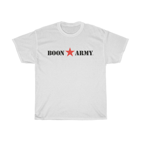 Adults 'Boon Army' Unisex Heavy Cotton T-Shirt. Red Star. Black Lettering.