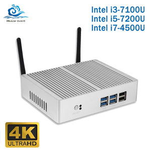 Cheap Intel Core i5 7200U 4210Y i3 7100U i7 4500U Fanless Mini PC Windows 10 Computer PC DDR3L 2.40GHz 4K HTPC WiFi HDMI VGA USB - A.works