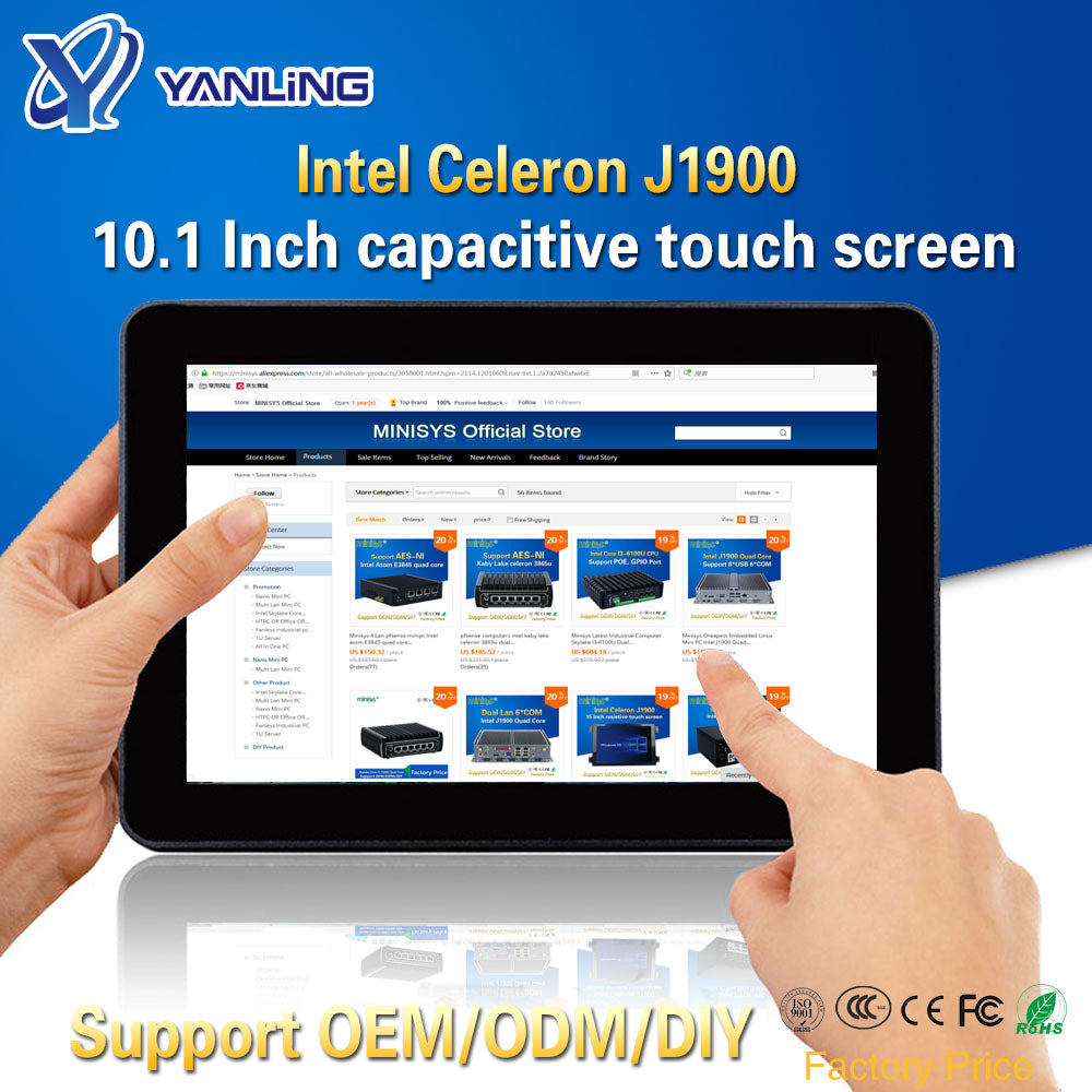 Yanling Rugged Industrial Tablet PC Intel J1900 2 Lan Desktop All in one Computer 10.1'' Capacitive Touch Screen For Windows 10 - A.works