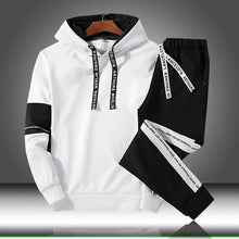 Charger l'image dans la galerie, Sets Tracksuit Men Autumn Winter Hooded Sweatshirt Drawstring Outfit Sportswear 2020 Male Suit Pullover Two Piece Set Casual