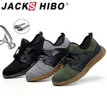 Charger l'image dans la galerie, JACKSHIBO  Work Safety Shoes For Men Summer Breathable Boots Working Steel Toe Anti-Smashing Construction Safety Work Sneakers