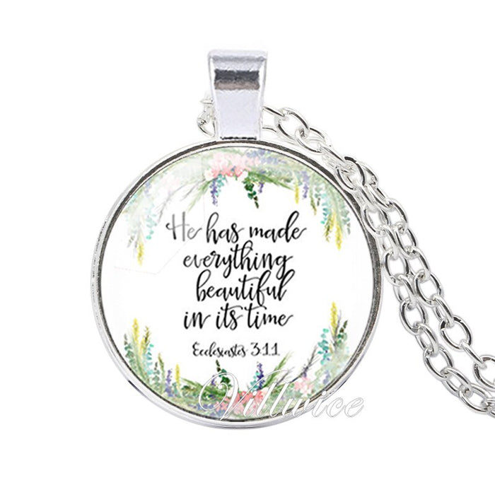 VILLWICE She is clothed with Strength and Dignity Necklace Proverbs 31:25 Bible Verse Christian Quote Necklace Faith Gifts