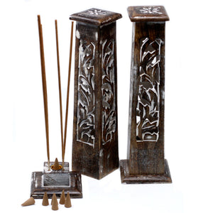 Tapered Incense Tower Washed Des2 - Mango Wood