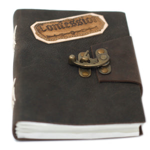 "Leather Black Confessions with Lock Notebook (7x5"")"