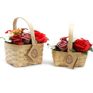 Medium Red Bouquet in Wicker Basket