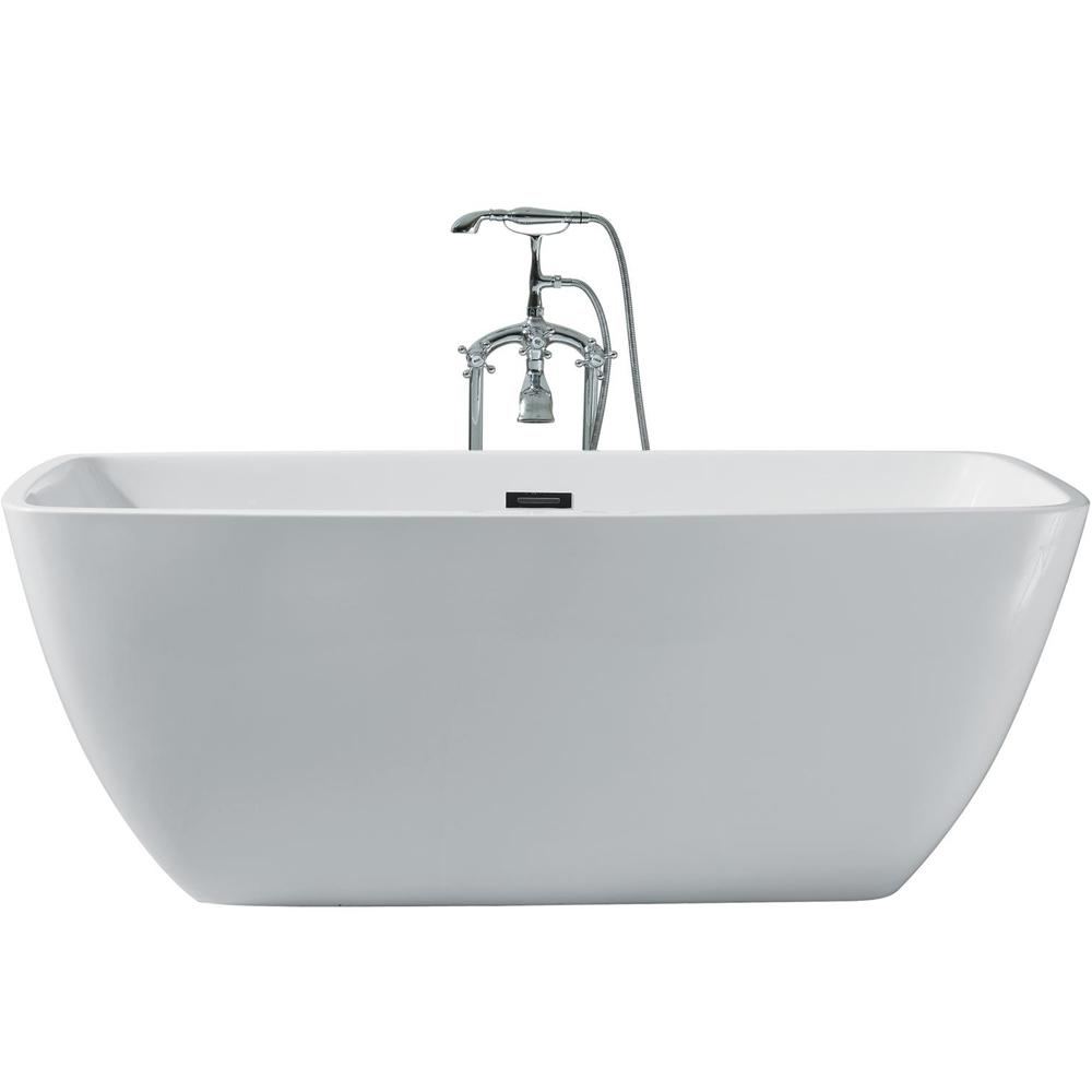 Drain Rectangle Flat Bottom Freestanding Bathtub