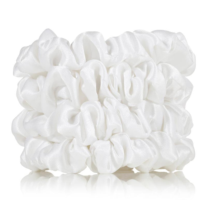 4 white silk scrunchies
