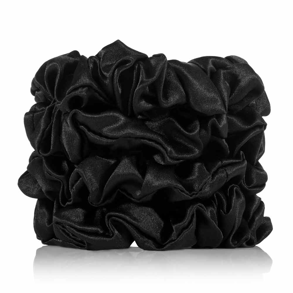 Silk Scrunchies 4 Black Regular - Calidad Home