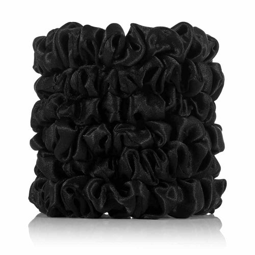 Silk Scrunchies Black (6 Skinny) - Calidad Home