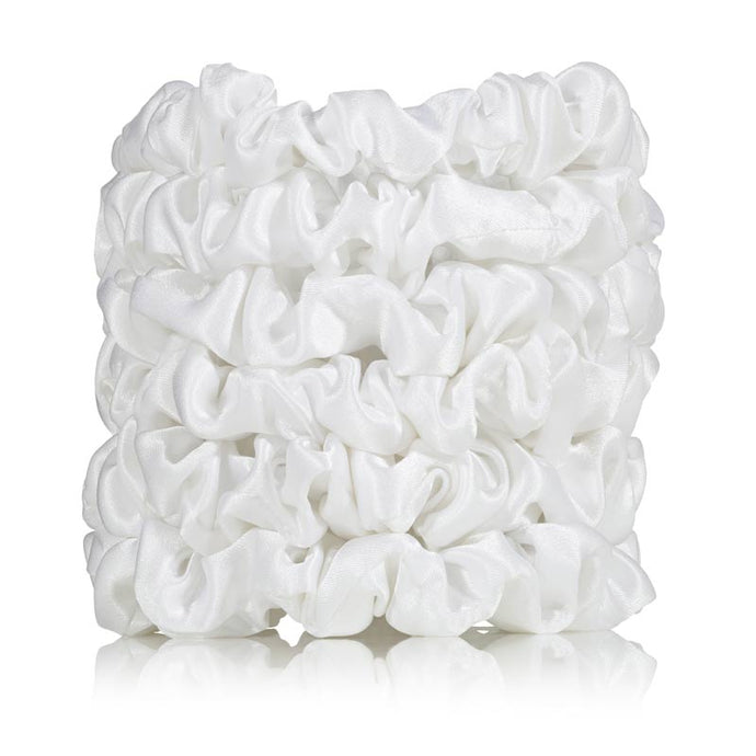 white silk scrunchies