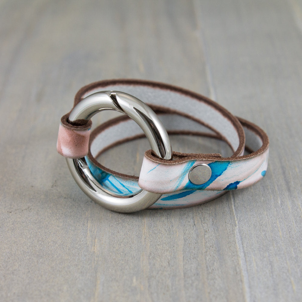 Turquoise, Grey, and Brown Spring Gate Bracelet