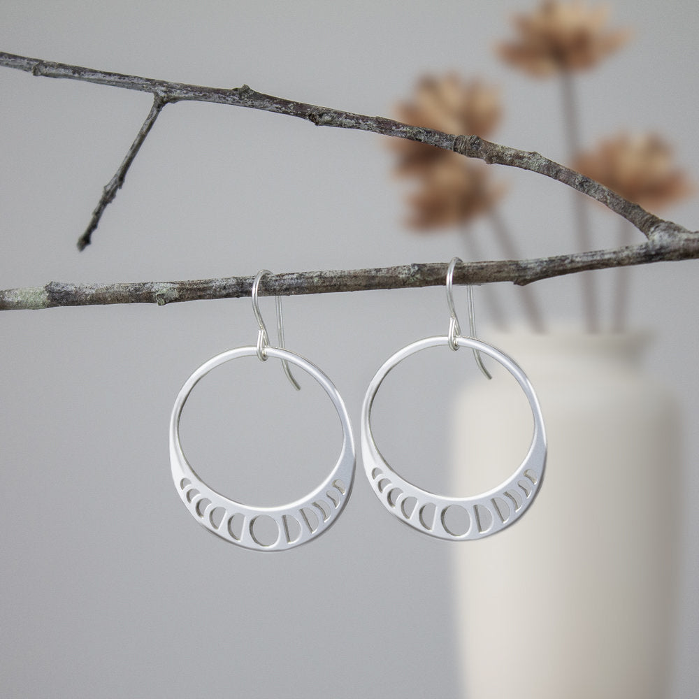Sterling Moon Phase Earrings