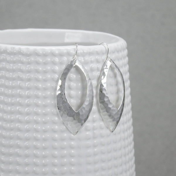 Hammered Sterling Marquis Earrings