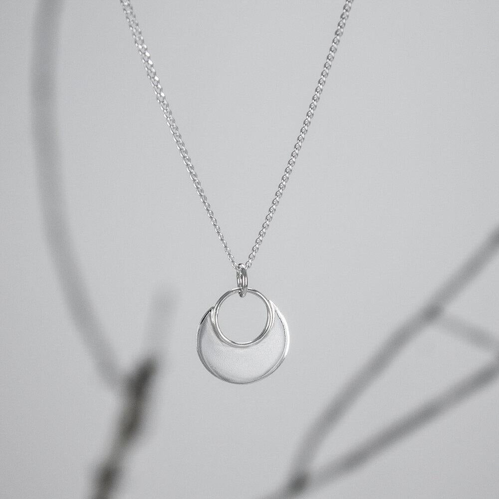 Small Sterling Rimmed Circle Pendant
