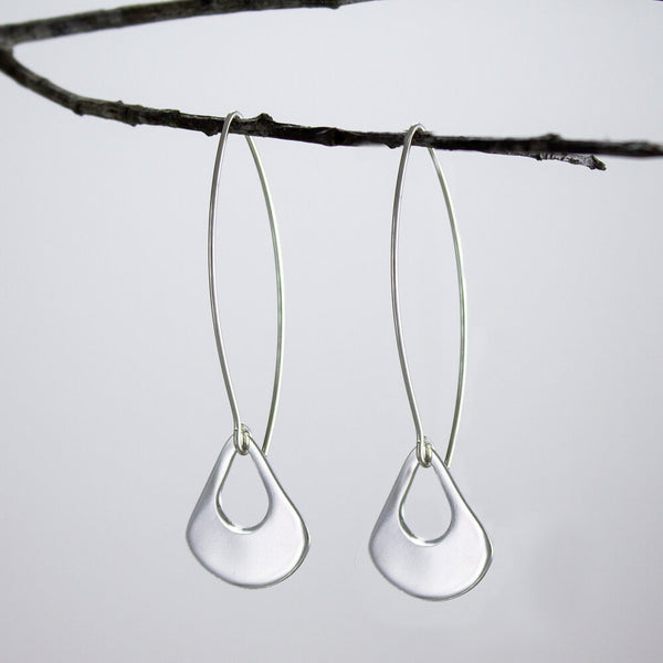 Flat Sterling Teardrop Earrings