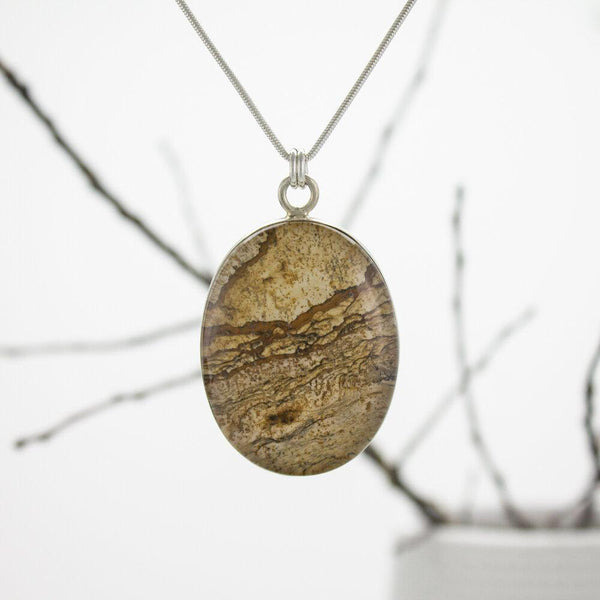 Picture Jasper and Quartz Pendant