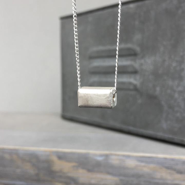 Hollow Sterling Rectangle Pendant
