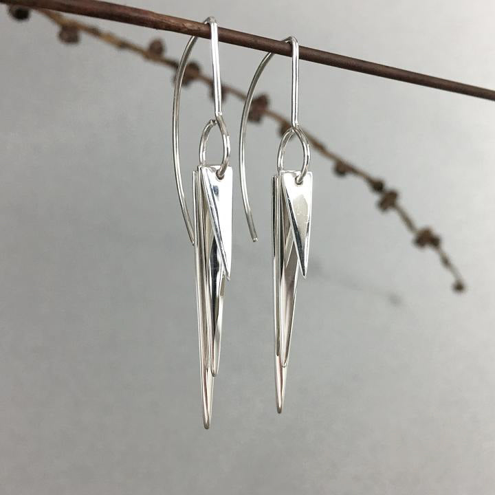 Sterling Tri-Triangle Earrings