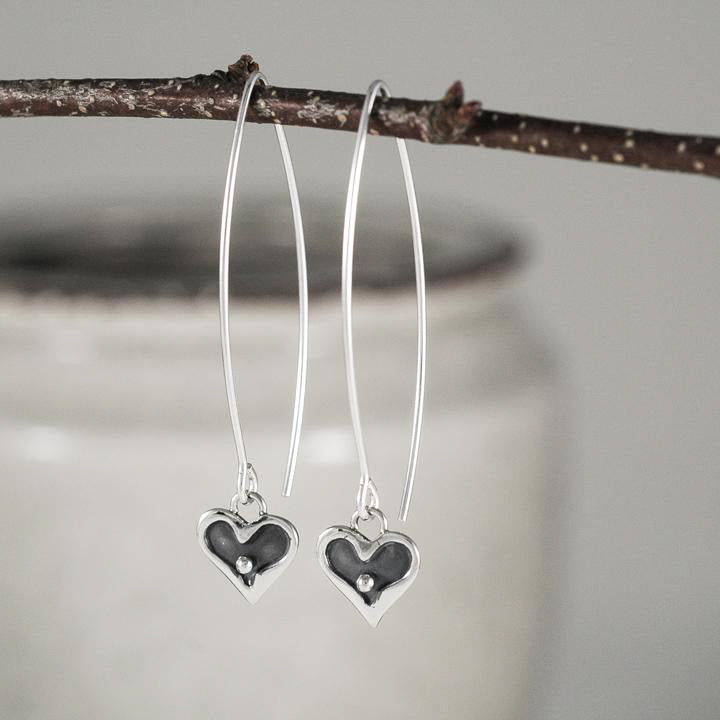Tiny Sterling Heart Earrings
