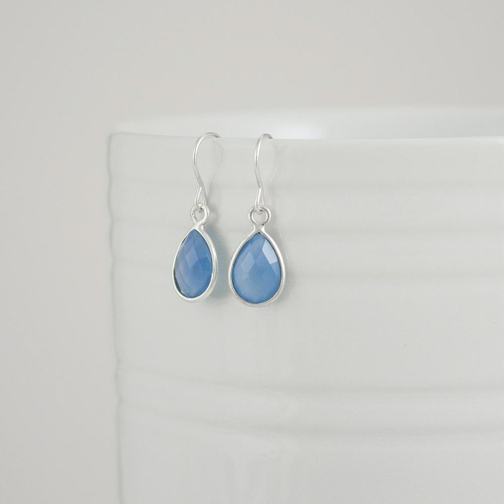 Chalcedony Quartz Teardrop Earrings
