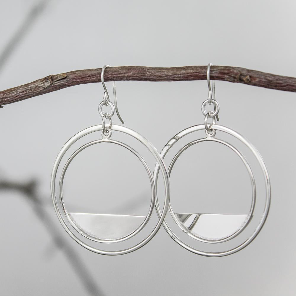 Crescent Sterling Circle Earrings