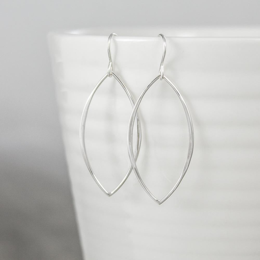 Thin Sterling Marquis Earrings
