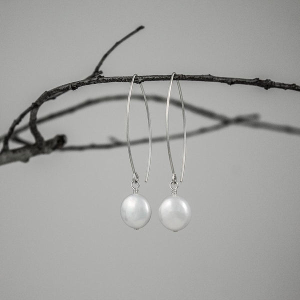 Cultured Freshwater Coin Pearl Earrings