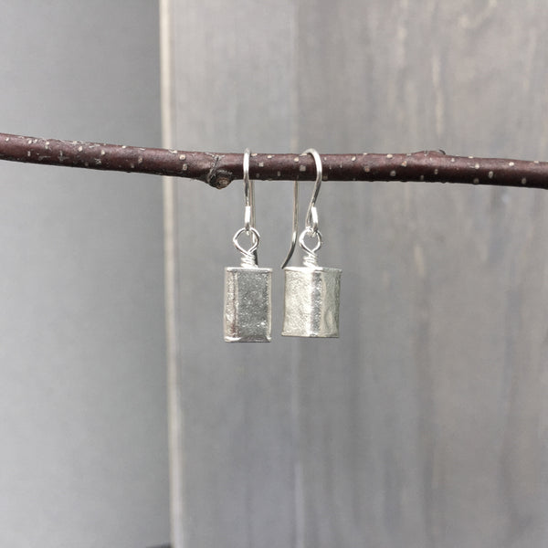 Hollow Sterling Rectangle Earrings