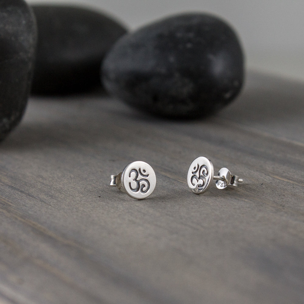 Sterling Om Post Earrings