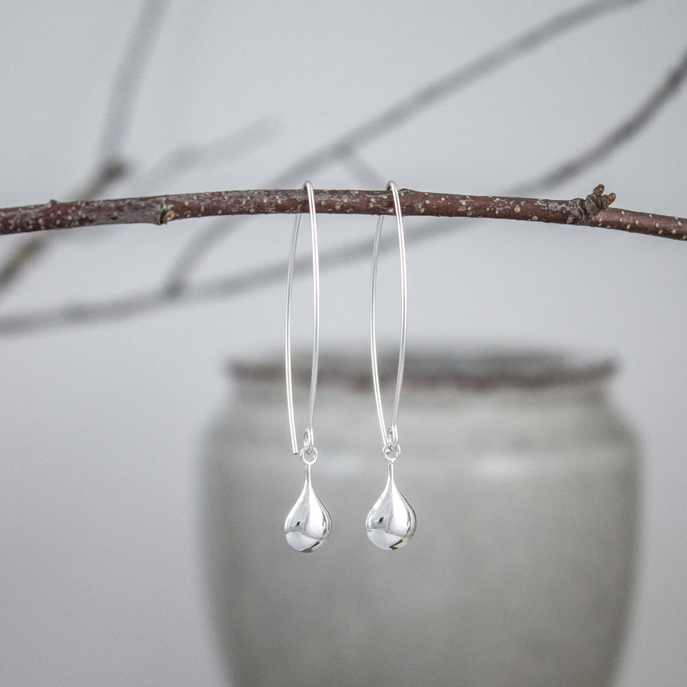 Flattened Sterling Teardrop Earrings