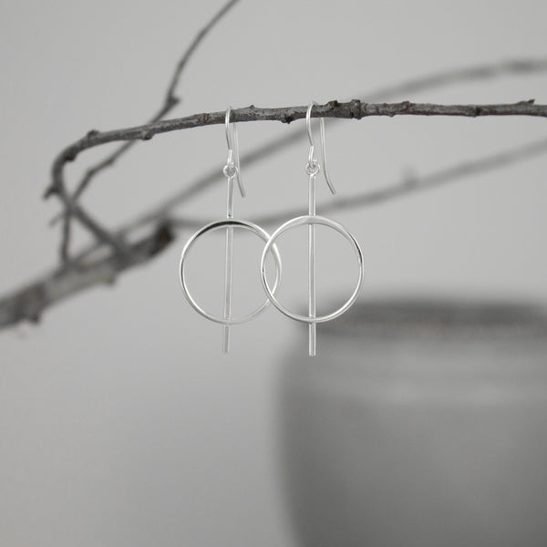 Bar-Pierced Sterling Silver Circle Earrings