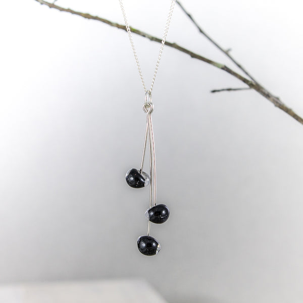 Black Teardrop Glass Necklace