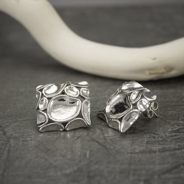 Concave Sterling Square Earrings