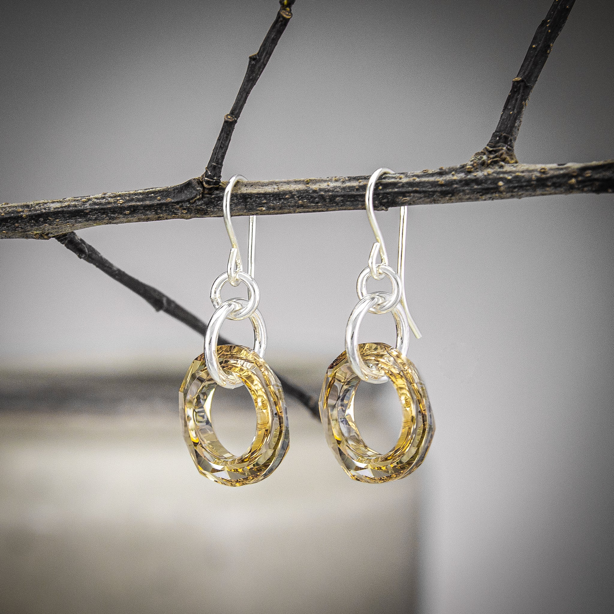 Champagne Swarovski Crystal Earrings