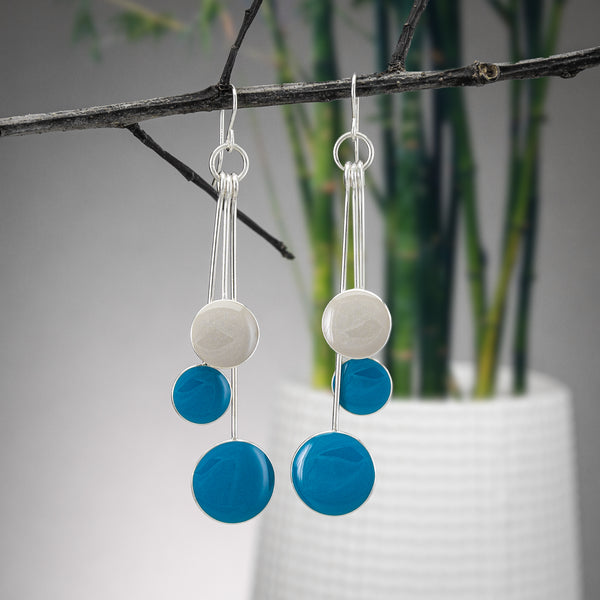 Aqua and Grey Resin Earrings