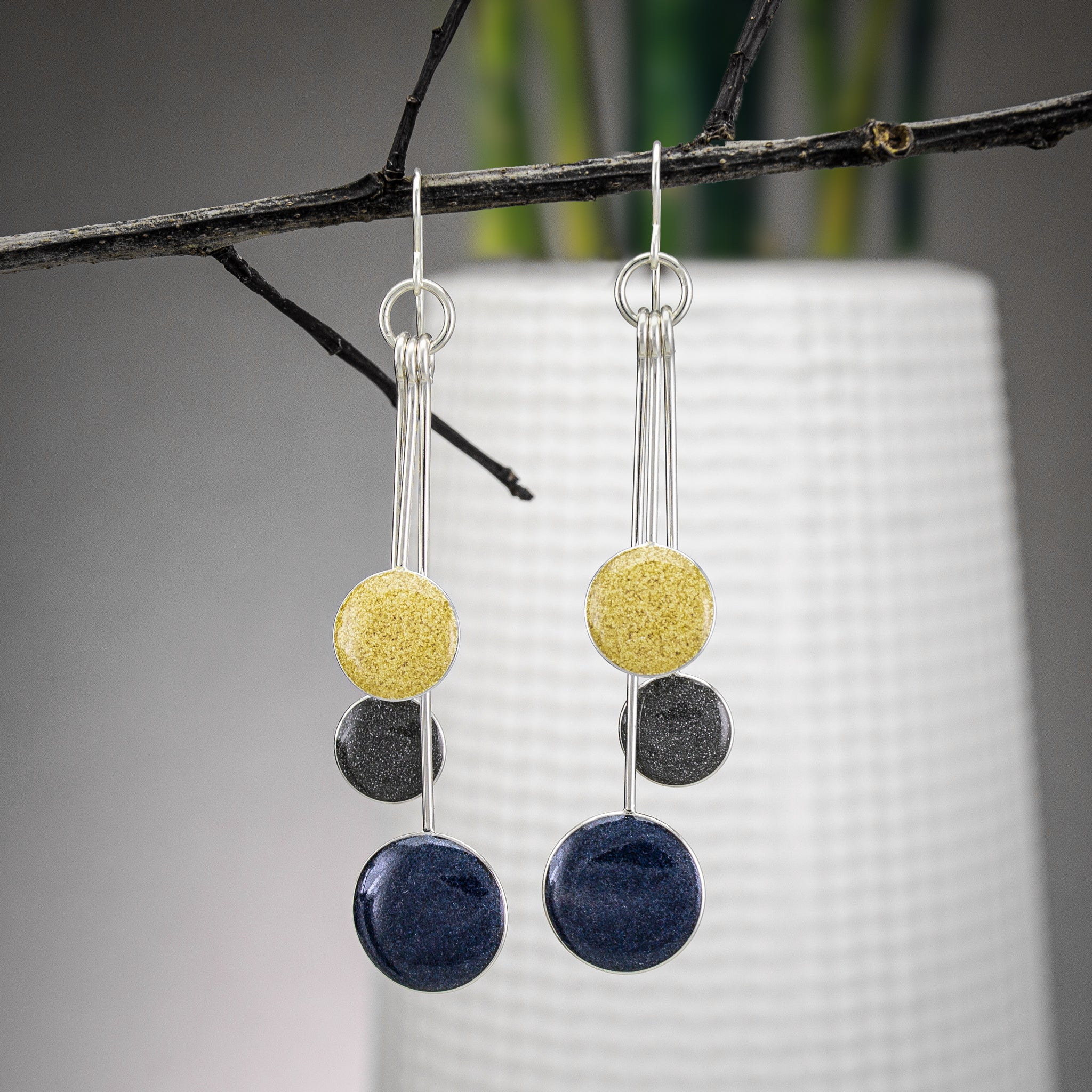 Navy, Pewter, and Butter Resin Earrings