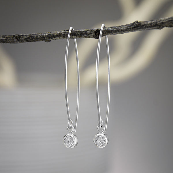 White Quartz Swarovski Crystal Earrings