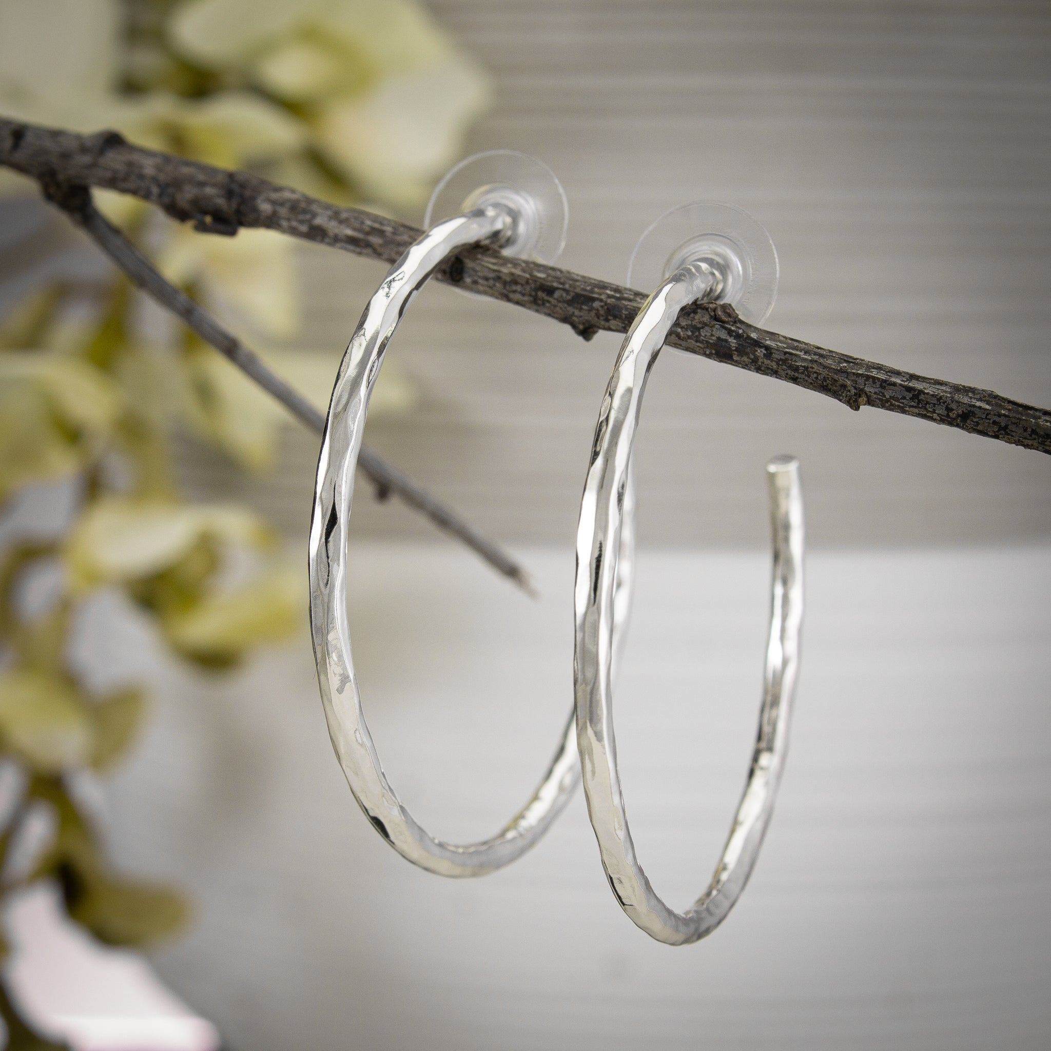 Hammered Hoop Post Earrings