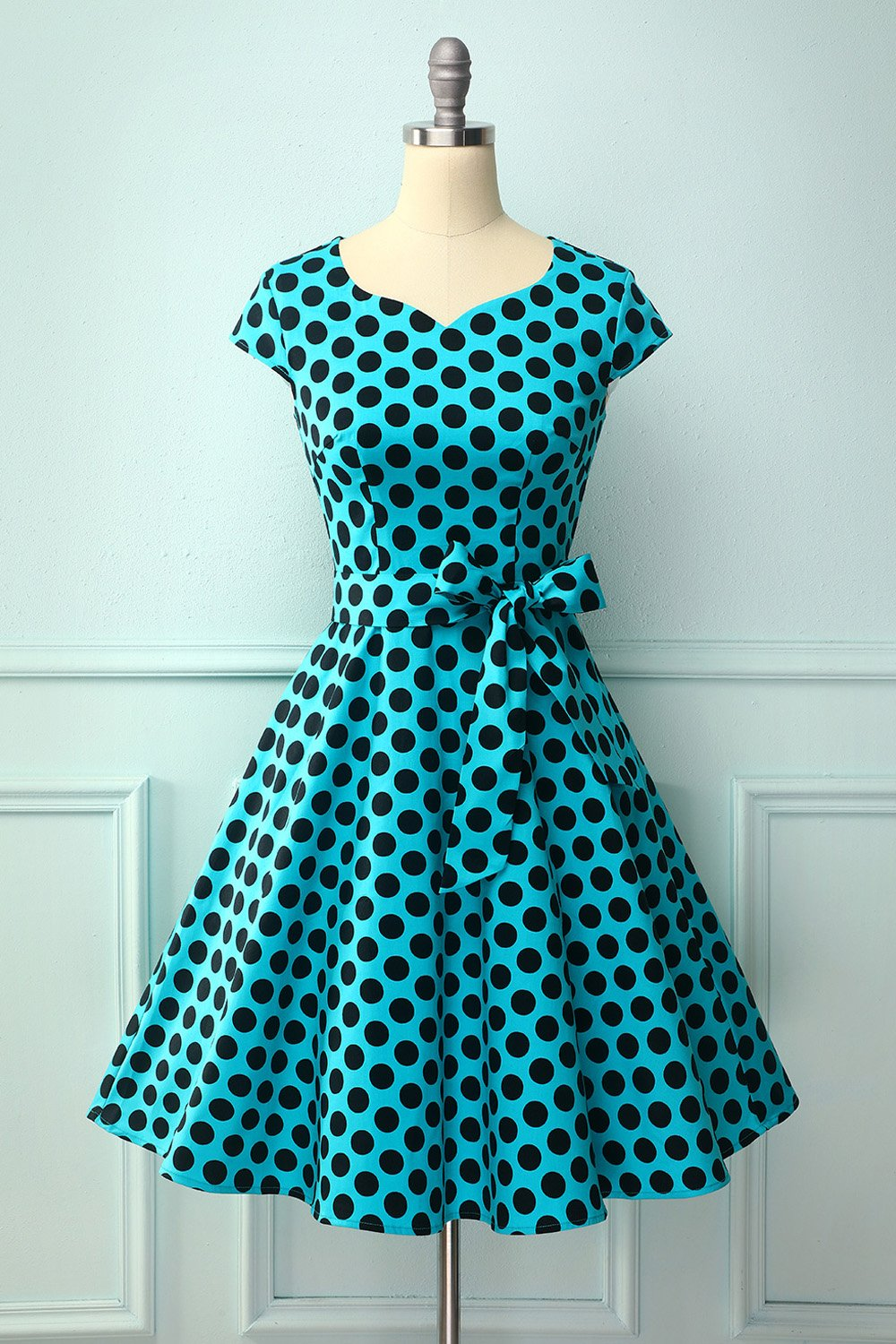1950 Blue Black Dots
