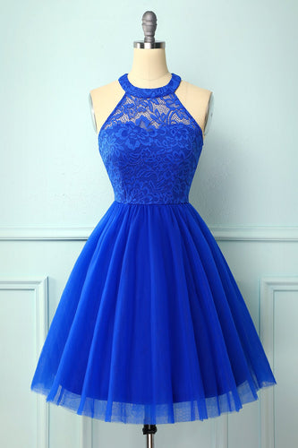 Vestido Halter Royal Blue Lace