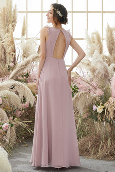 Blush Open Back Chiffon Vestido de dama de honor