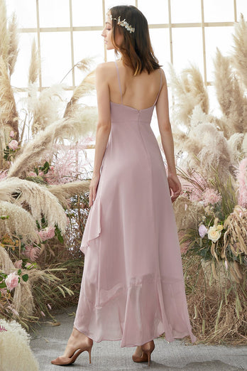 Blush High Low Chiffon Vestido de dama de honor