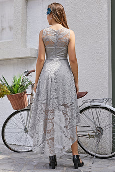Grey Asymmetry Lace Dress - ZAPAKA